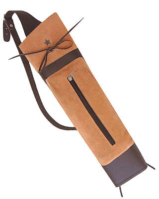New Traditional Fine Brown Leather Back Arrow Quiver Archery Products Aq-131