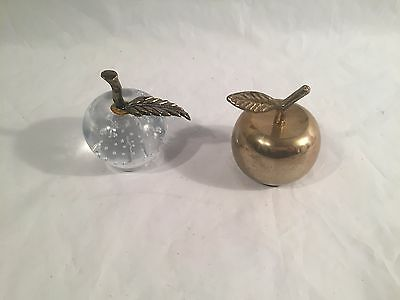 """Solid Brass Apple Bell with Leaf original box vtg 2 3/4"""" + Glass paperweight"""