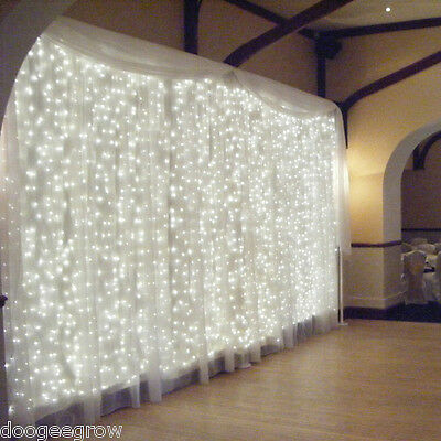 6x3M 600 LED Cool-White Christmas Xmas Wedding Party Curtain Fairy String Lights