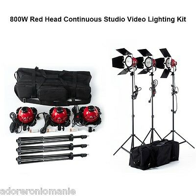 2400W Studio Red Head Continuous Light Lighting Kit Set Dimmers Video Filming UK