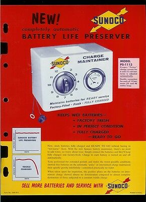Rare Vintage Sunoco Oil & Gas Battery Life Preserver Charger Dealer Sheet Page
