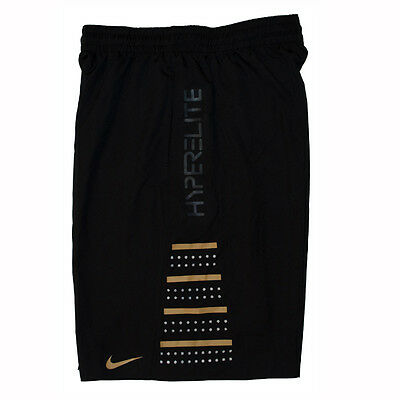 Nike Mens Hyper Elite Dri-Fit Basketball Shorts in Black Gold BNWT M