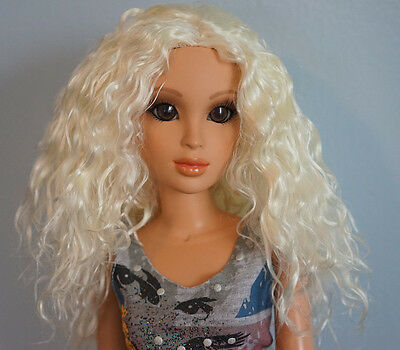 Monique Wavy Textured White Blonde Doll Wig 7-8 FOR KAYE WIGGS & OTHER MSD