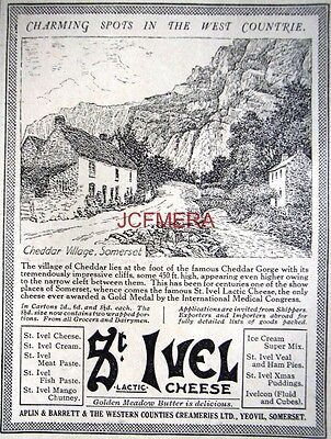 1932 St IVEL Cheese AD; CHEDDAR VILLAGE, Somerset - Small Print ADVERT
