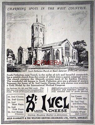 1932 St IVEL Cheese AD; South Petherton Church, Somerset - Small Print ADVERT