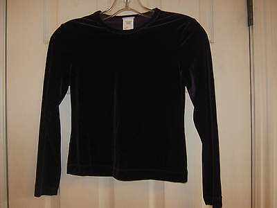 NEW Long Sleeve Purple Stretch Velvet top - Size Child large (10-12) Dance, Jazz