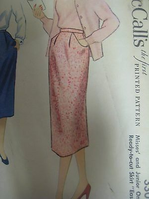 Vintage 1950's McCall's 3308 ONE-PIECE SKIRT w/ INSERT POCKETS Sewing Pattern