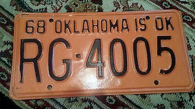 1968 Oklahoma License Plate Hot Rod Rat RG 4005 Excellent Camaro GTO Muscle Car