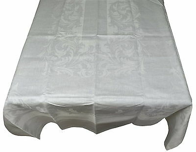"Brand New Vintage Damask Linen Banquet Tablecloth & Napkins 64"" x 108"" White"