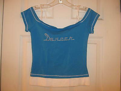 """NEW Fun dance top - Blue & White """"DANCER"""" w/ tags Child size Small from 3 Pearls"""
