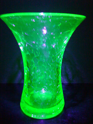 Green Uranium Crackle Glass trumpet vase