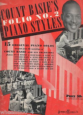 Count Basie's FOLIO No.2 Piano Styles Sheet Music 1940s Good Condition