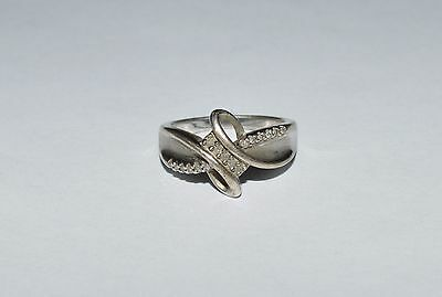 SIGNED SUN 925 Sterling Silver And Diamonds Ring Size 7
