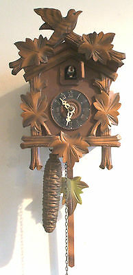 """Traditional German 2 Weights Driven Carved Wood Case Cuckoo Clock 10""""H 7""""W 5""""D"""