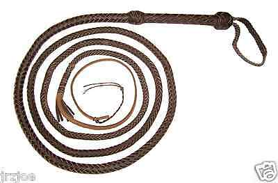 12 foot 10 plait DARK BROWN Real Leather Bullwhip Indiana Jones Style Bull Whip