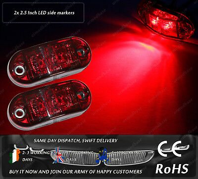 2x LED Red Truck Trailer Jeep 12v 24v Side Markers Position Lights DOT E Mark