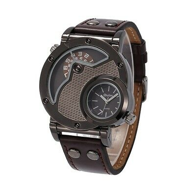 Luxury OULM Russian Army Military Dual Time Leather Band Mens Quartz Wrist Watch