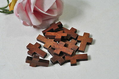 30pcs Wood Cross Charm Pendant Natural Wooden Necklace Craft Brown Finished