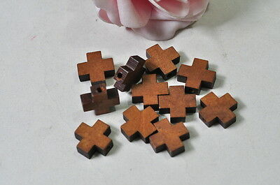 40pcs Wood Cross Charm Pendant Natural Wooden Necklace Craft Brown Finished Punk