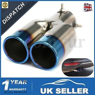 60Mm Universal Enamel Twin Double Exhaust Pipe Trim Tip Tail Muffler Stainless