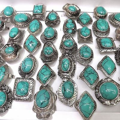 Big Turquoise Rings Antique Silver Ring Adjustable 50pcs/lot Wholesale