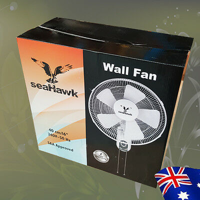 "40cm 16"" 50w Wall Mount Fan 3 Speed SAA Plug 5 PP Blades Quiet Oscillation"