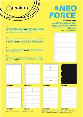 Stamp Album Stock Pages- Pack of 10 sheets. 6 Strips double sided 195x40mm/Strip