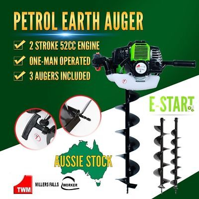 Ground Drill One-man 52cc w/ 3 Augers Post Hole Digger Earth Auger Petrol