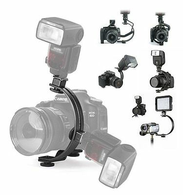 Adjustable C-Shape 2 Flash Hot shoe Bracket Holder Mount LED Video Light Stand