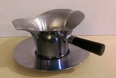 "Vintage Chase ""Lotus"" Sauce Bowl, with Saucer, Black Bakelite Handle, 1930s-40s"