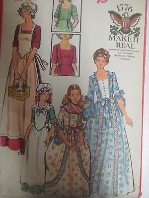 Vtg Butterick DOLLY MADISON BICENTENNIAL 1776 DRESS COSTUME Sewing Pattern Women