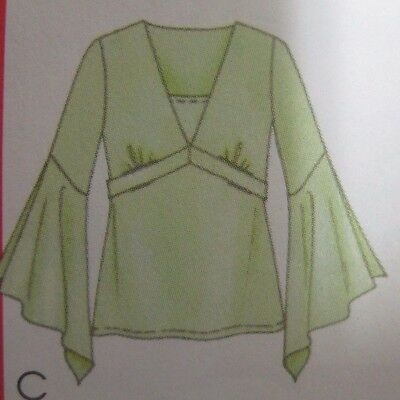 McCalls 4660 FRONT INSET BLOUSE TOP w/ FLOUNCE SLEEVE Sewing Pattern Women UNCUT