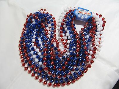 Lot Of 12 New Red White Blue Party Beads Necklace