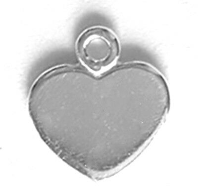 1 SMALL FLAT STERLING SILVER HEART CHARM / PENDANT / TAG WITH RING, 8.5 x 6 MM