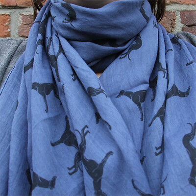 Greyhound Scarf - Whippet Galgo Sighthound - Scarves - Blue and Black