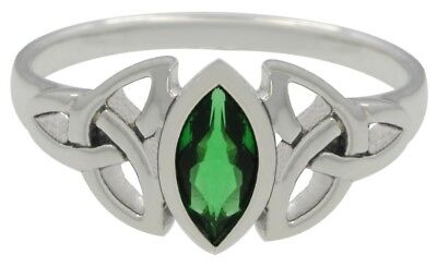 0.925 Sterling Silver Irish Celtic Trinity Knot Triskele Ring with Emeral Glass