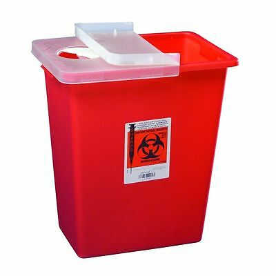 LOT OF 5 - Sharps Container, 8 Gallon, Red, Hinged Lid, Kendall Covidien 8980