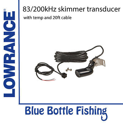 Lowrance HST-WSU 83/200kHz skimmer transducer with temp and 20ft cable