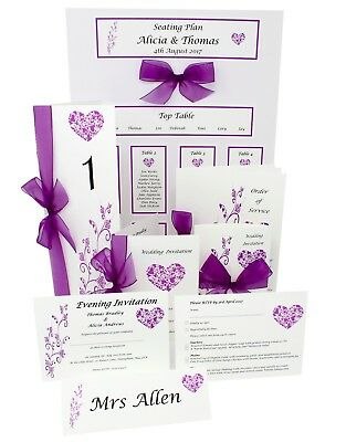Handmade personalised Wedding Stationery- Lots of design/ribbon colours