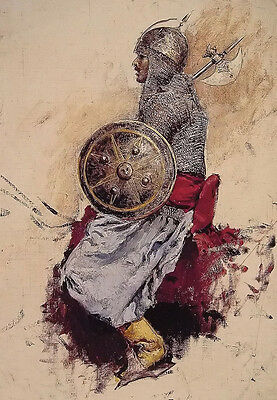 Oil painting edwin lord weeks - man in armour arab young figures sketch canvas