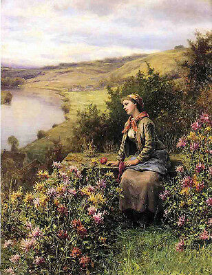 Oil painting daniel ridgway knight - waiting young lady sitting by river scene