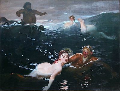 Oil painting Playing in the Waves mermaid & Neptune the god of the sea on canvas