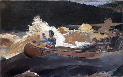 Oil painting Winslow Homer Shooting the Rapids Saguenay River landscape & canoe