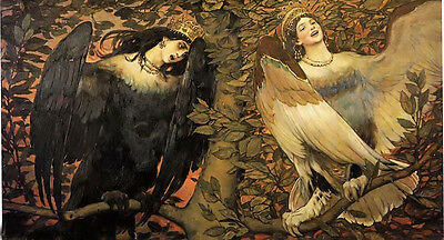 Oil painting Sirin (left) and Alkonost (right) – Birds of Joy and Sorrow girls