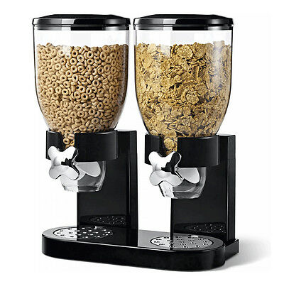 Clear Black White Single Twin Dry Food Candy Cereal Dispenser Storage