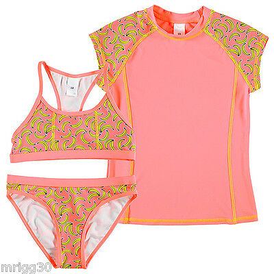 GIRLS Rash Vest & bikinis swimwear set Bananas pink yellow bathers top NEW