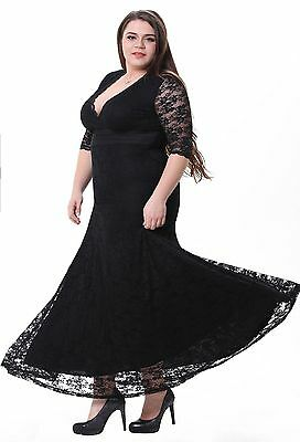 BBW Plus Size Gorgeous 3/4 Sleeve Peplum Curve Bridesmaid Long Lace Dress 1X-5X