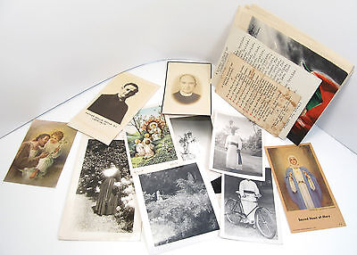 Vintage Religious Large Lot of Ephemera Paper Holy Cards Nun Photo Priest Photo