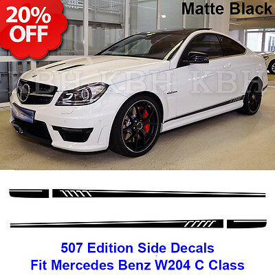 507 Style Stripes Sticker for Mercedes Benz S204 W204 Coupe C 63 AMG Matt Black