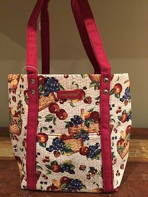 Longaberger ~ Fruit & Baskets Fabric Tote W/ Front Pocket ~ New With Tags